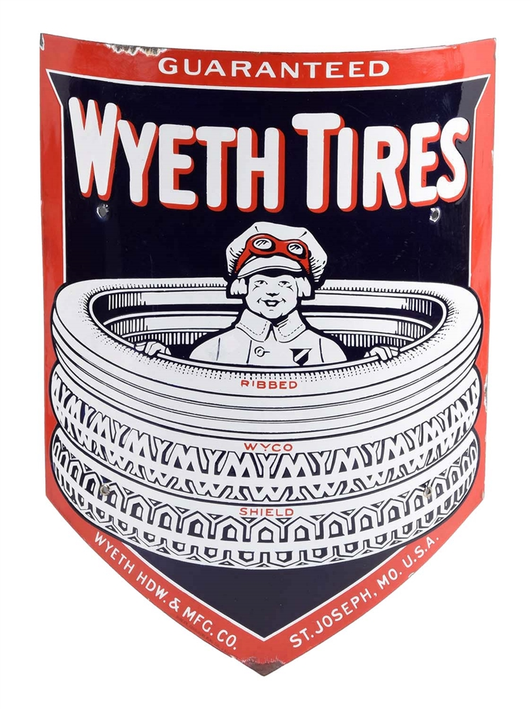 Wyeth Tires Curved Porcelain Sign W/ Boy In The Tires Graphic.