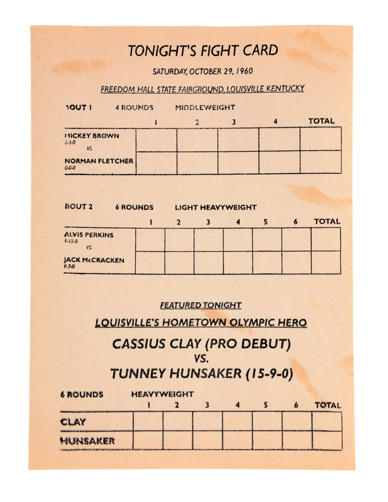 1960 Cassius Clay vs Tunney Hunsaker Program 1st Professional Fight.