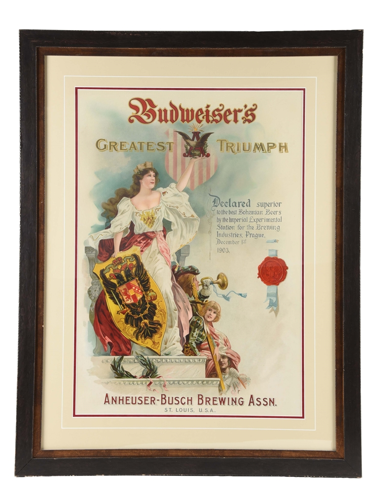 Large Budweisers Advertising Poster.