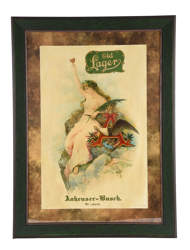 Old Lager by Anheuser Busch Cardboard Advertising Sign.
