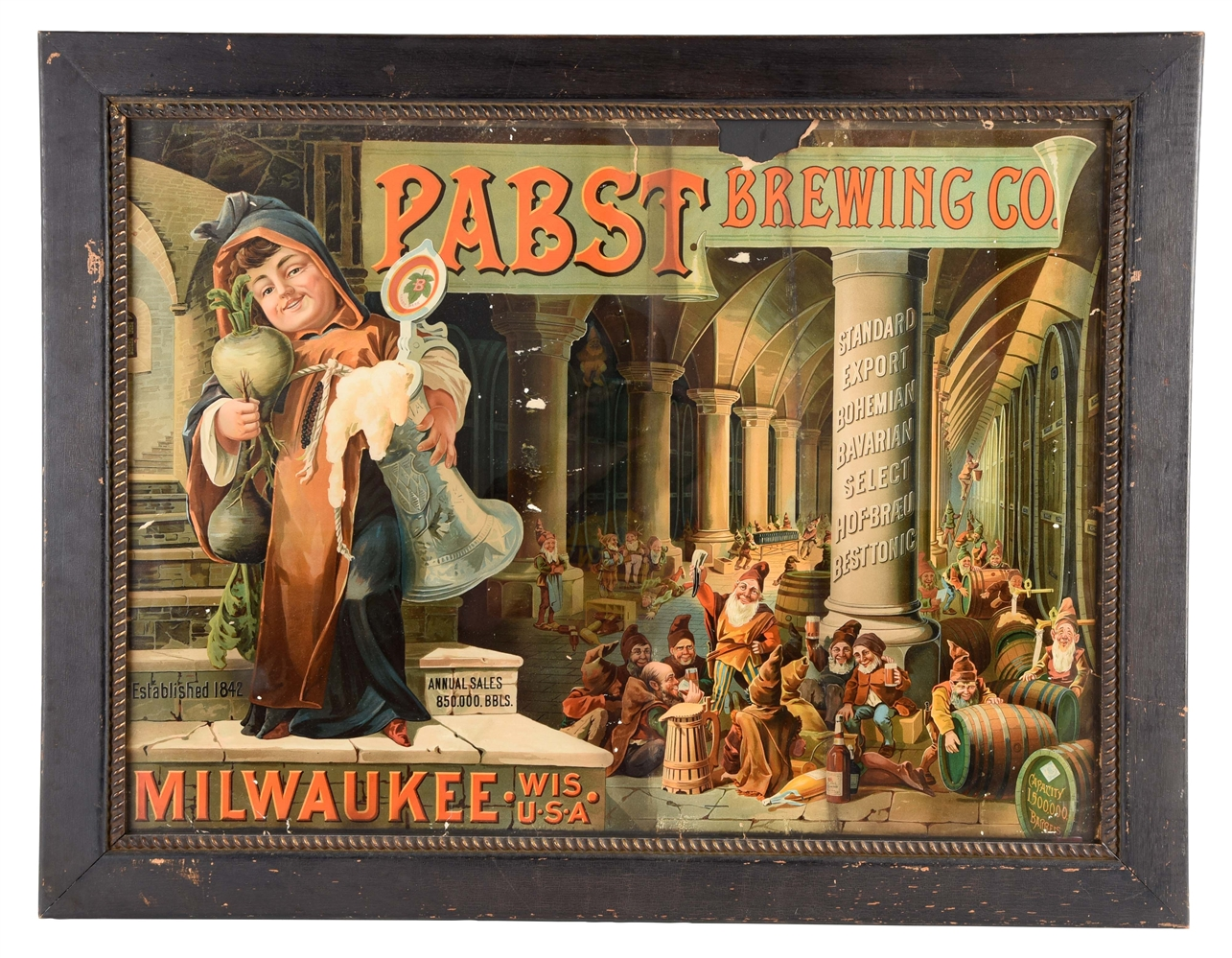 PABST BREWING COMPANY CARDBOARD ADVERTISING SIGN.