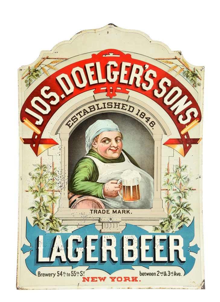 JOS. DOELGERS & SONS LAGER BEER TIN SIGN.