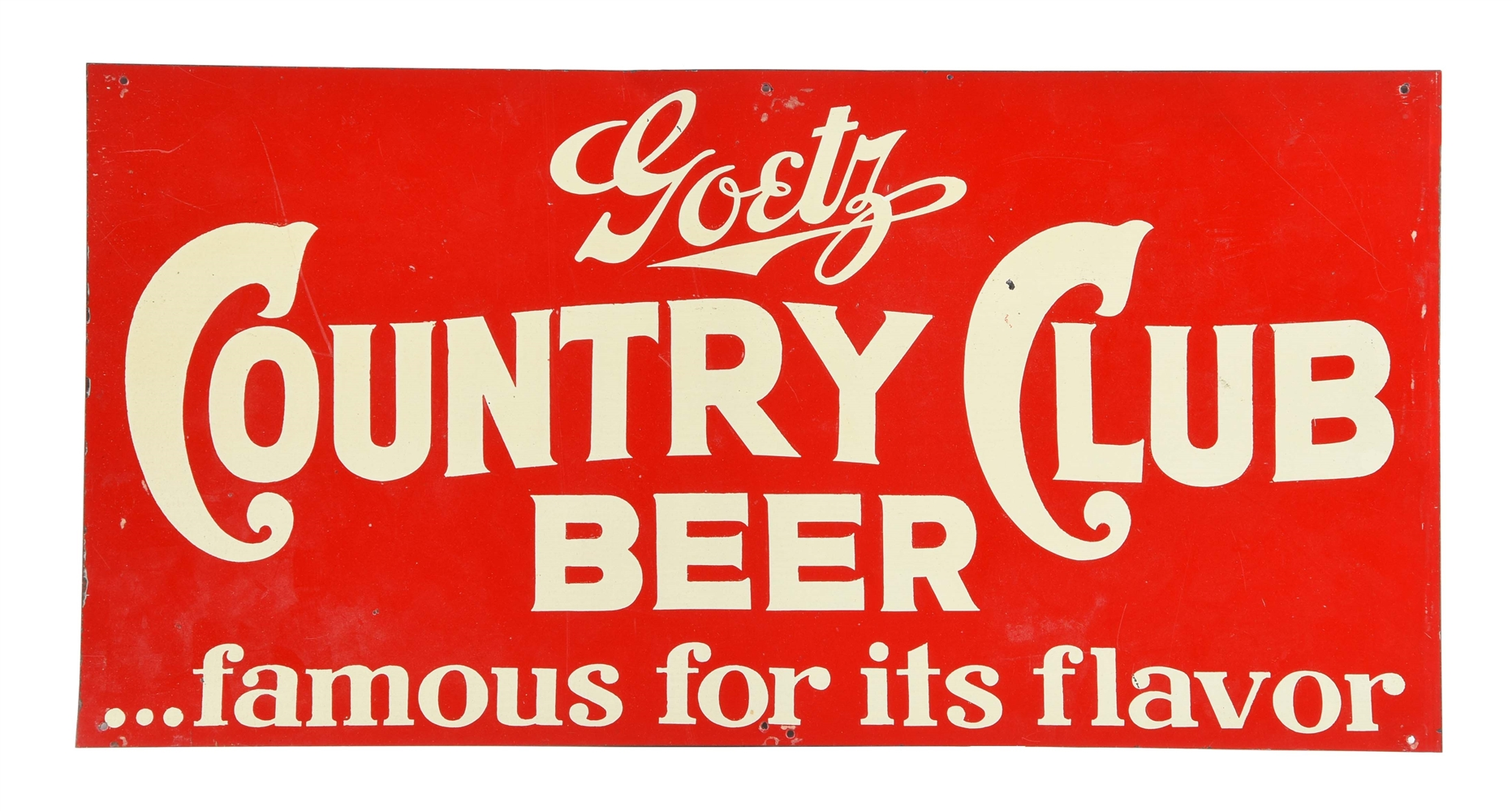 Goetz Country Club Beer Tin Sign.
