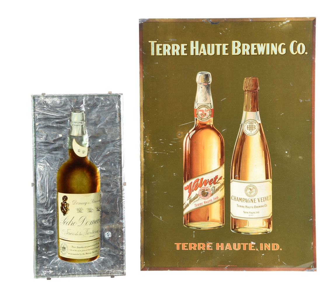 LOT OF 2: TERRE HAUTE BREWING & PEDRO DOMECO SIGNS.