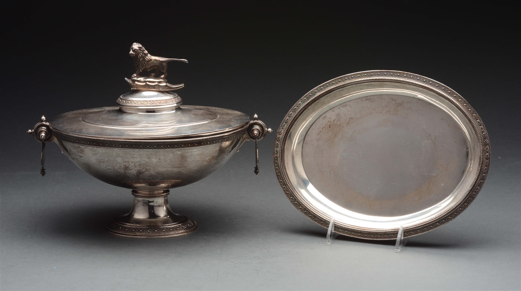 American Silver Covered Soup Tureen on Stand.