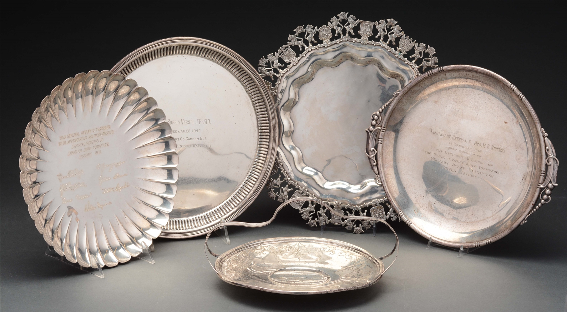 5 Sterling Plates & Trays.