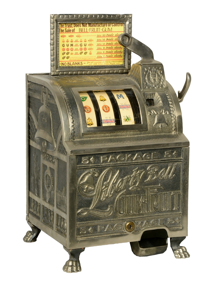 **REPRODUCTION 5¢ MILLS NOVELTY LIBERTY BELL SLOT MACHINE.
