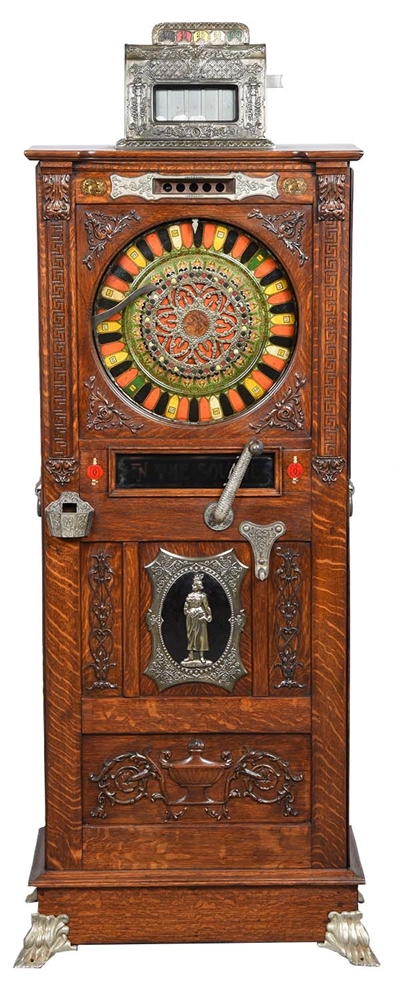 **5¢ MILLS NOVELTY CO. ON THE SQUARE UPRIGHT SLOT MACHINE.