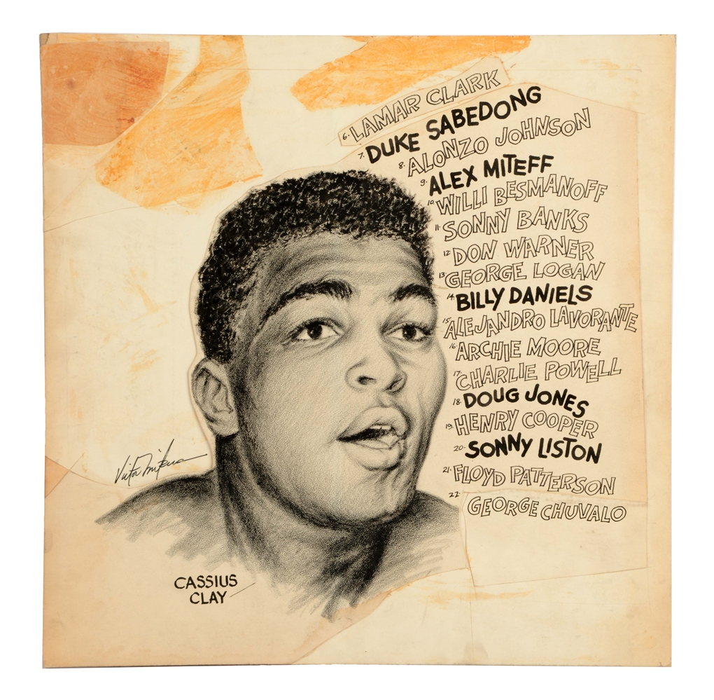 Cassius Clay Original Newspaper Art.