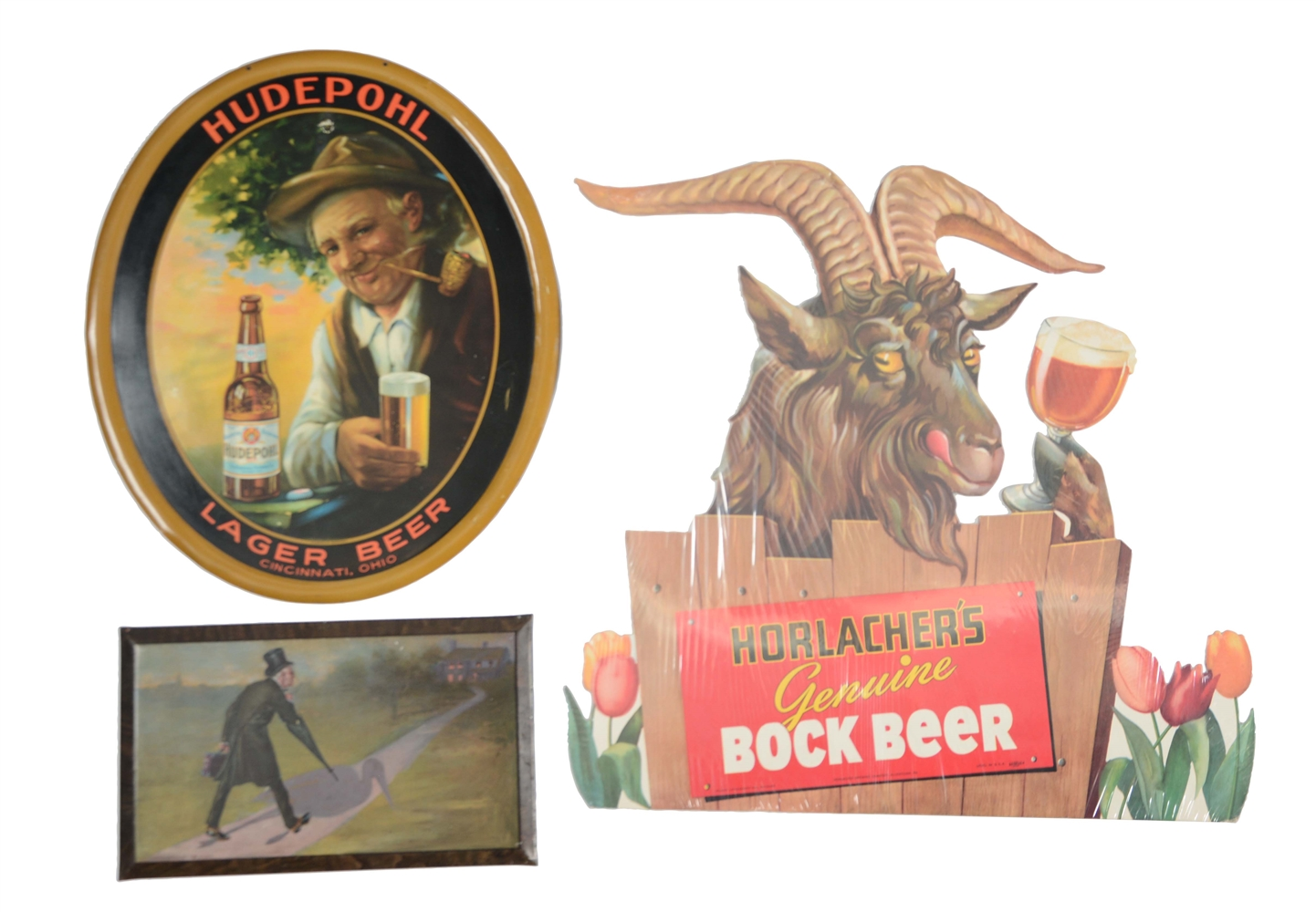 Lot Of 3: Hudepohl, Horlachers & Anheuser Beer Advertising Signs