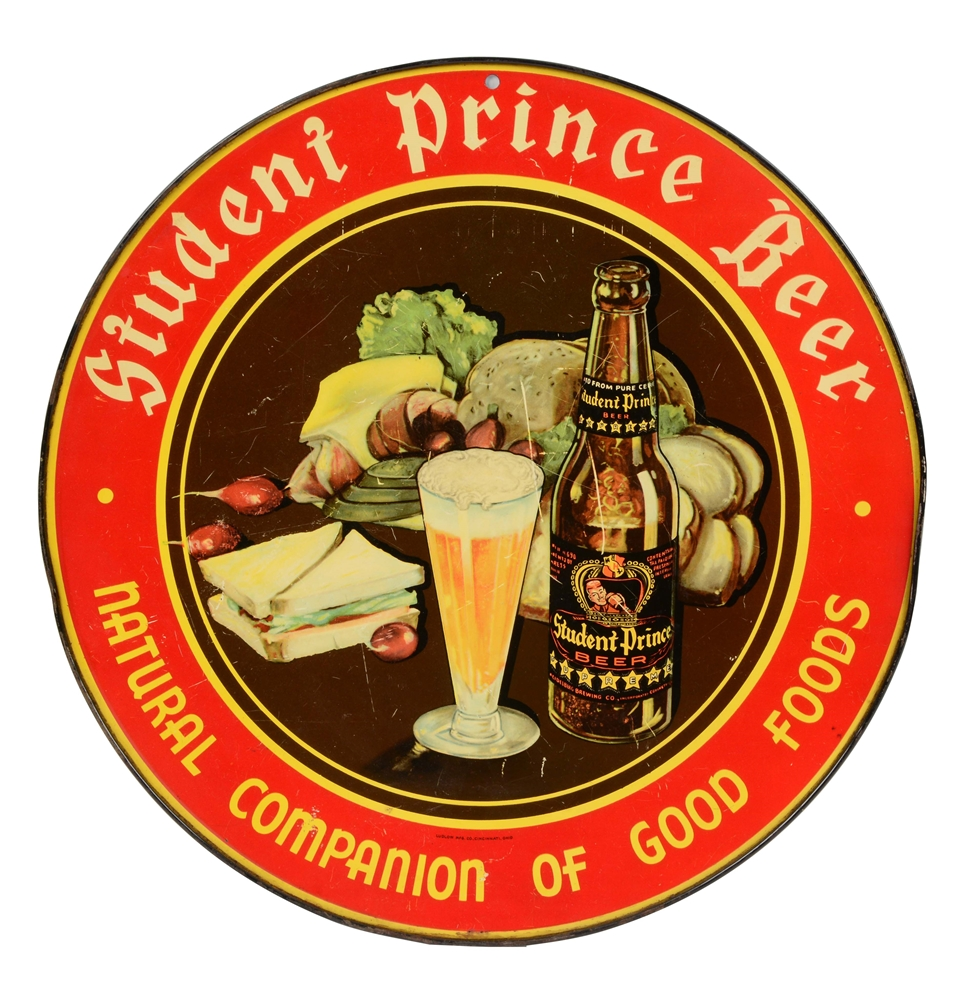 Tin Student Prince Beer Advertising Sign.