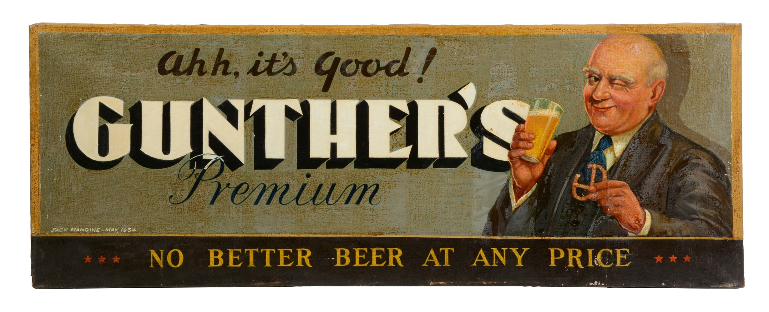 ORIGINAL ARTWORK OIL ON CANVAS FOR GUNTHERS BEER.