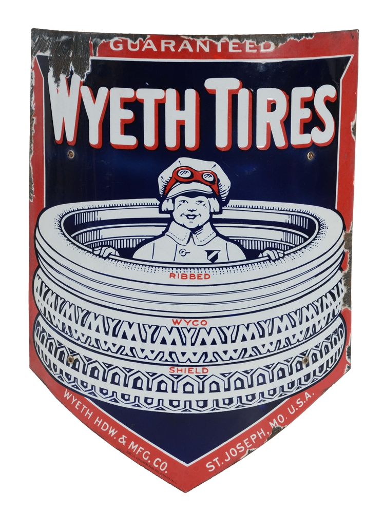 Wyeth Tires w/ Boy In The Tires Graphic Curved Porcelain Sign.