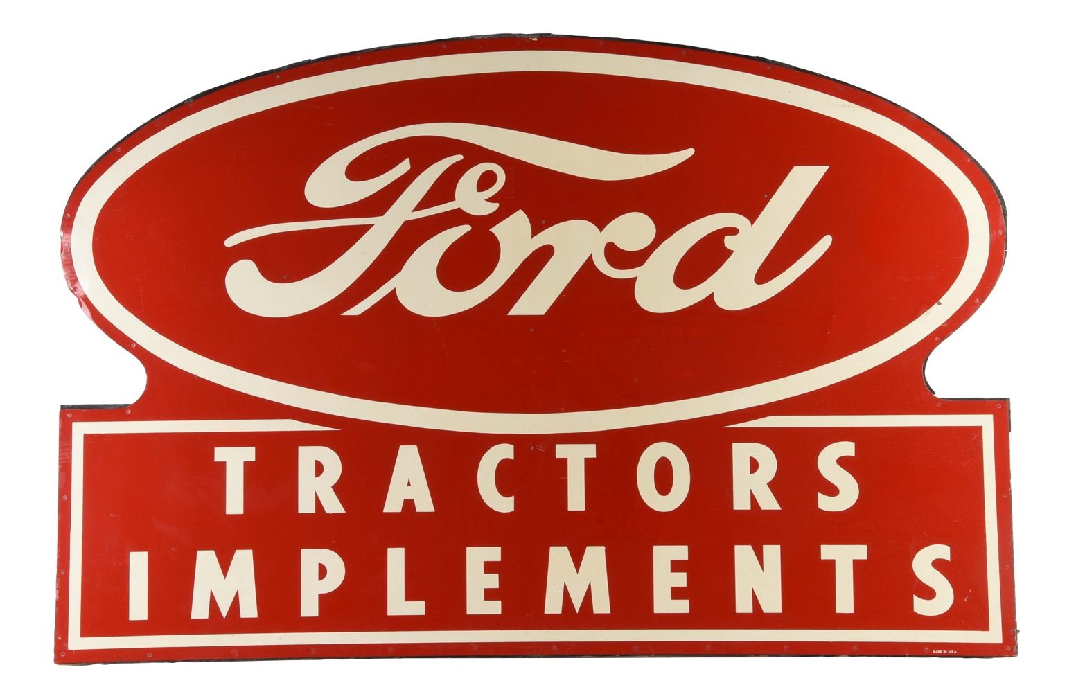 Ford Tractors & Implements New Old Stock Tin Sign w/ Original Wood Frame.