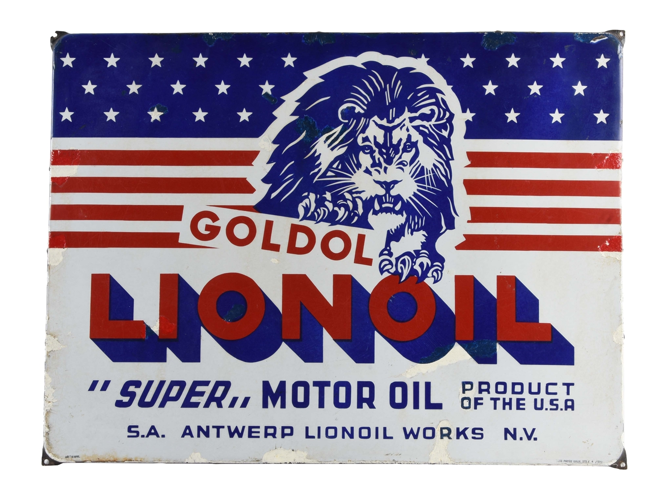 Goldol Lionoil Motor Oil Porcelain Sign With Lion Graphic.