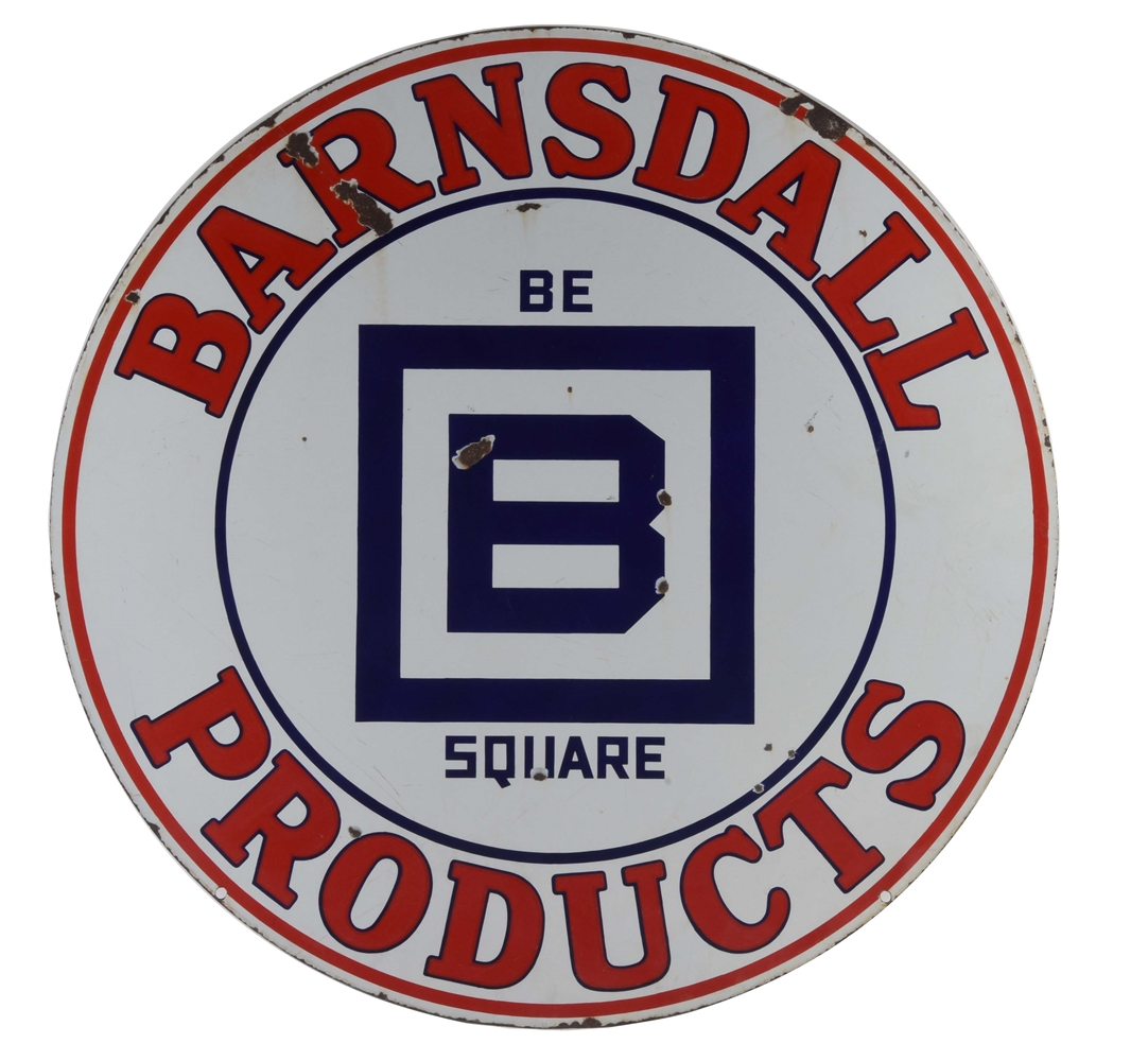 Barndall Gasoline Be Square Products Porcelain Sign.
