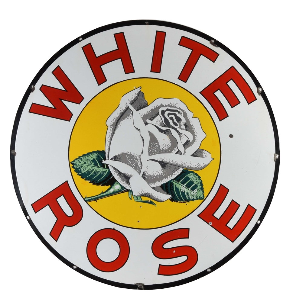 White Rose Gasoline Porcelain Sign w/ Rose Graphic.