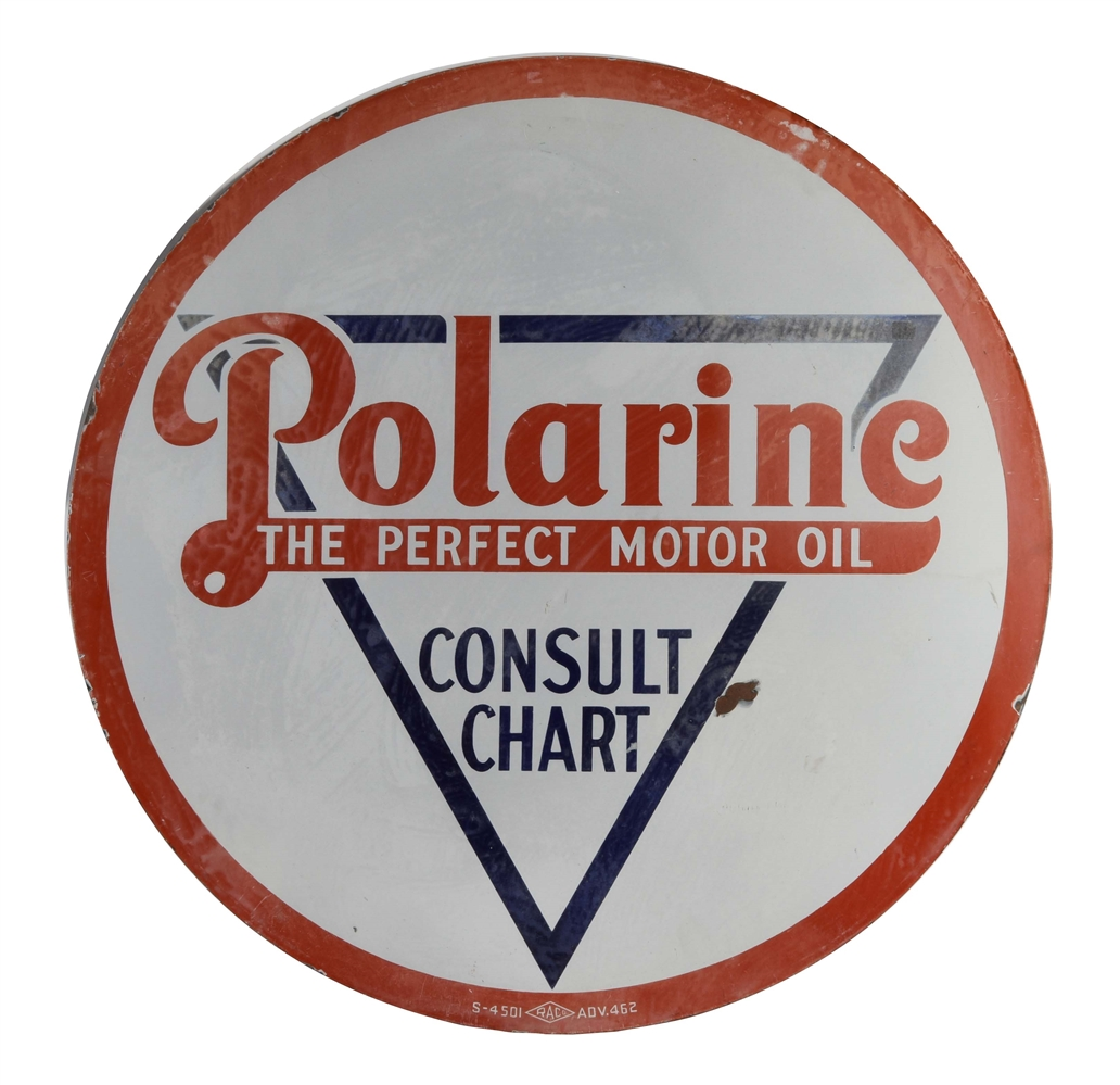 Polarine The Perfect Motor Oil Porcelain Sign.