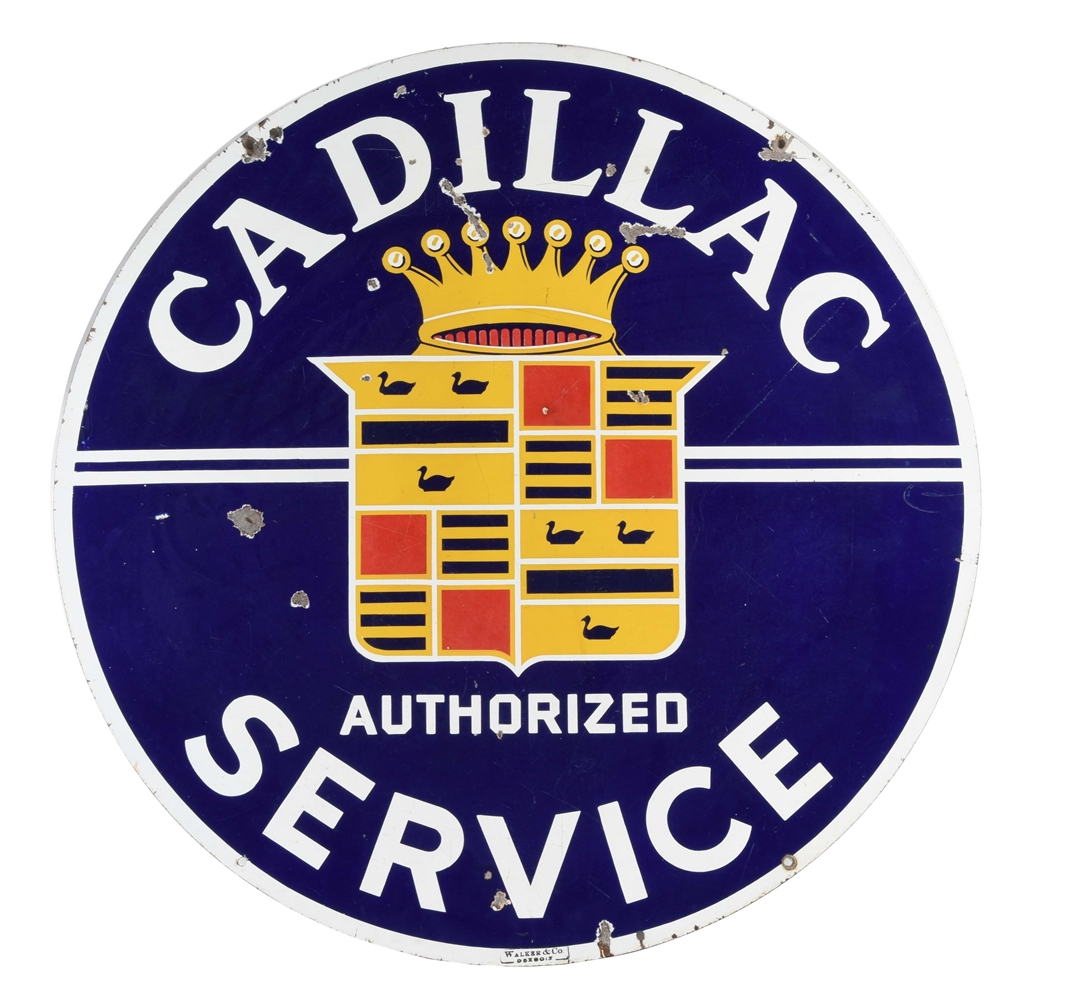 Cadillac Authorized Service Porcelain Sign.