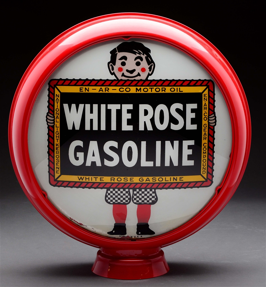 "White Rose Gasoline 15"" Complete Globe On Metal Body."
