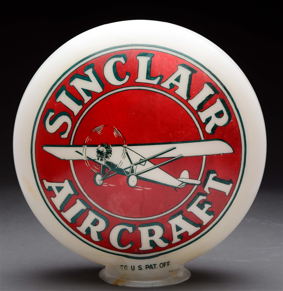 Sinclair Aircraft Gasoline OPB Globe with Airplane Graphic.