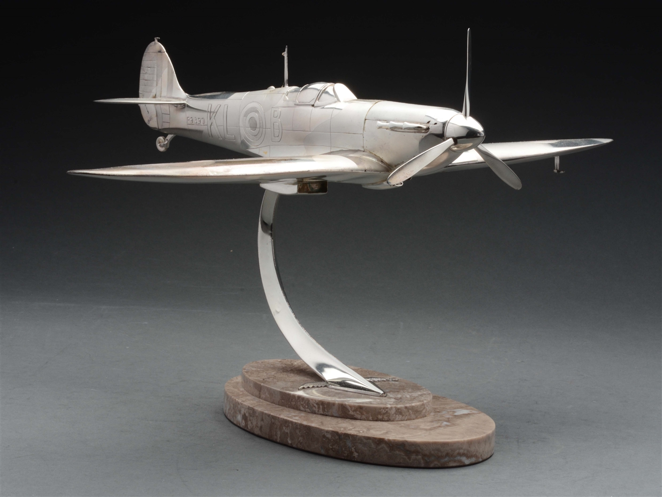 Sterling Silver Model of a Spitfire Aircraft On Marble Base.