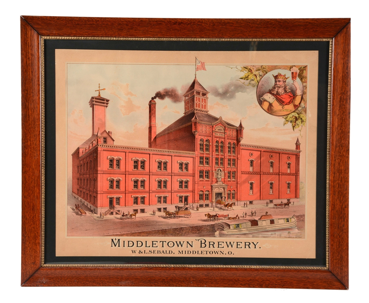 Middletown Ohio Brewery Paper Litho Advertising Sign.