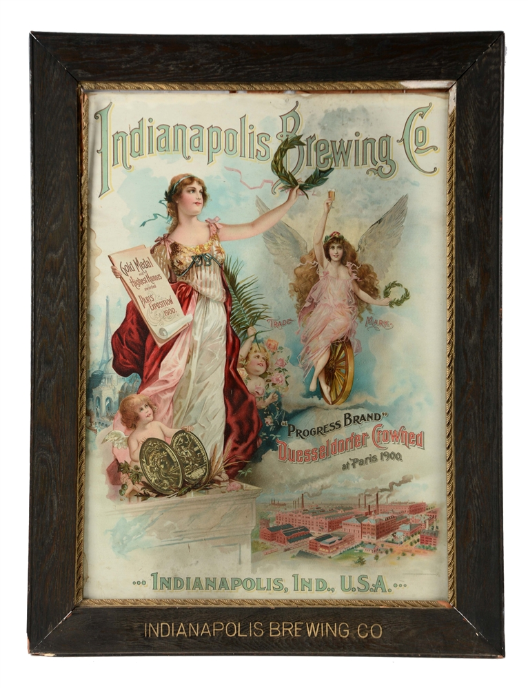 INDIANAPOLIS BREWING CO. PAPER LITHO SIGN.