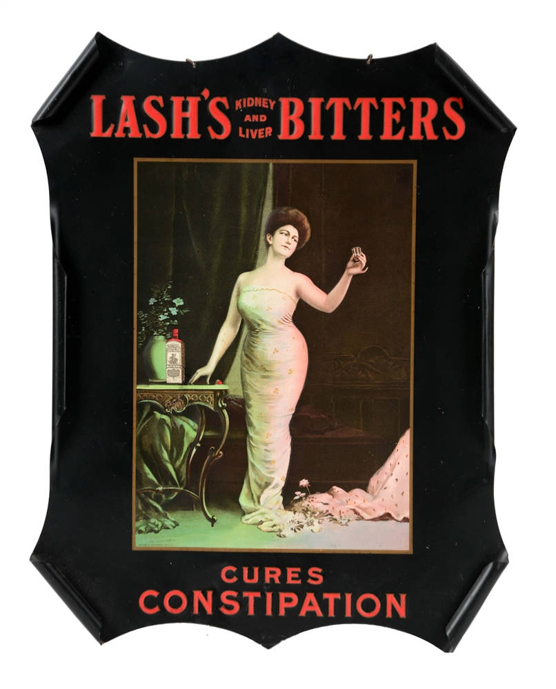 EMBOSSED TIN LASHS BITTERS ADVERTISING SIGN.