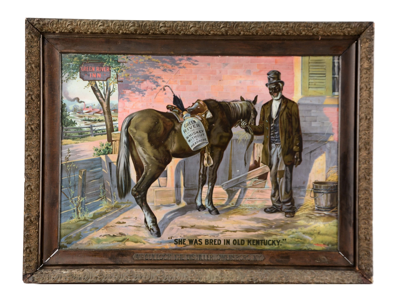 1899 GREEN RIVER WHISKEY TIN SIGN.
