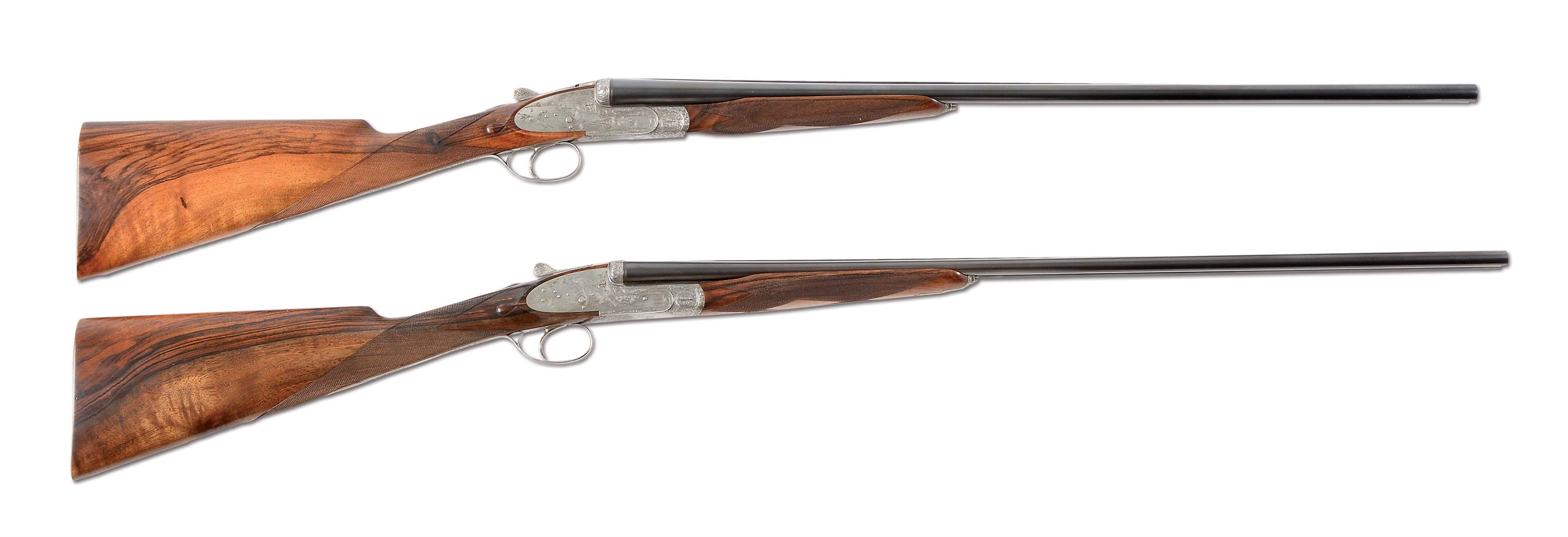 (M) SENSATIONAL BRACE OF FAMARS VENERI SIDELOCK EJECTOR, SINGLE TRIGGER SHOTGUNS - A 28 GAUGE AND A 410 GAUGE SET WITH SUPERB SHADED SCROLL AND LIFELIKE DOG AND BIRD SCENES BY G. M. CARGNEL (1975).
