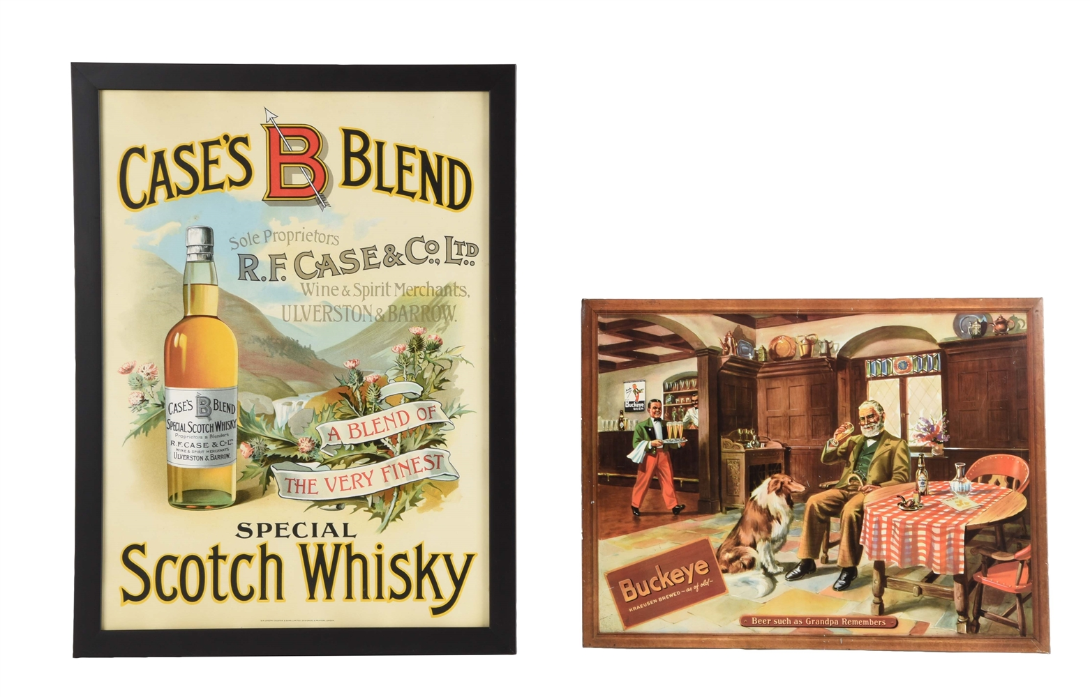 Lot Of 2: Buckeye Beer & Casess Blend Whisky Signs.