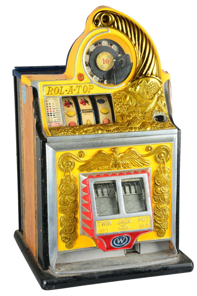 "**10¢ WATLING ROL-A-TOP ""BIRD OF PARADISE"" SLOT MACHINE."