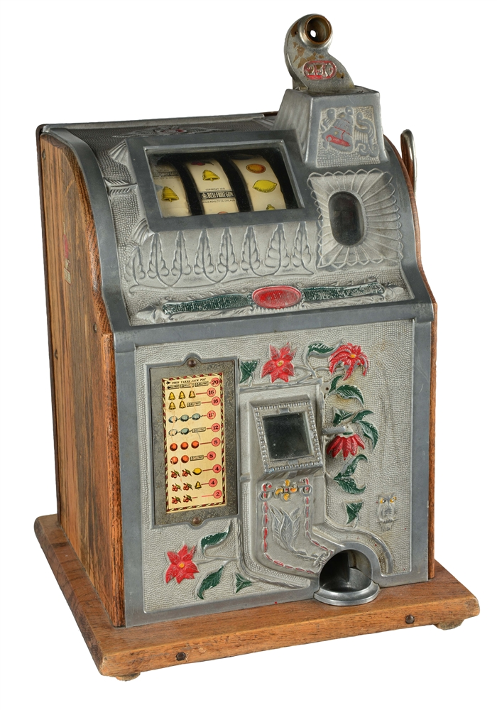 **25¢ MILLS POINSETTIA SLOT MACHINE WITH JACKPOT.