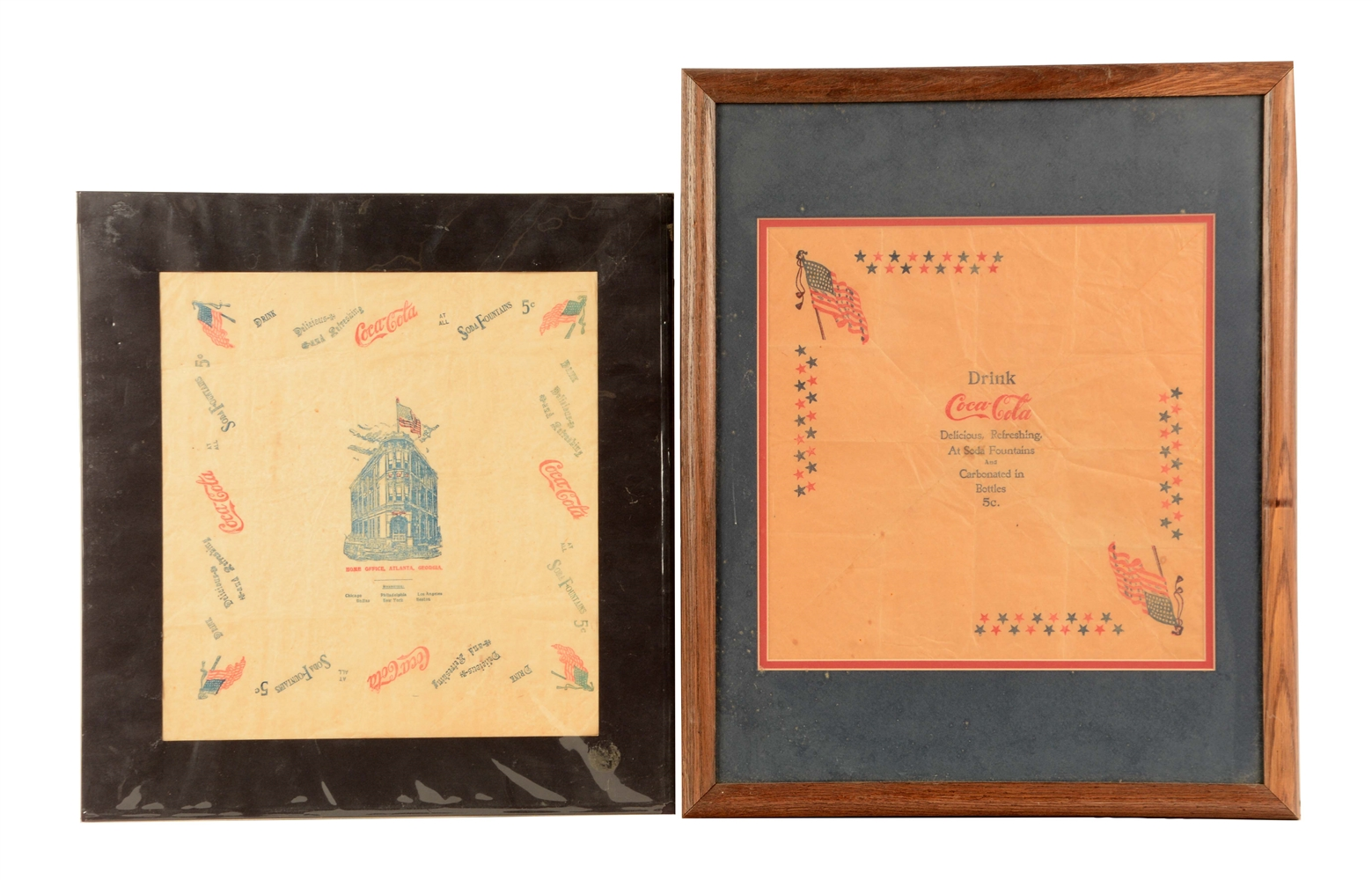 Lot Of 2: Early Coca-Cola Advertising Napkins.
