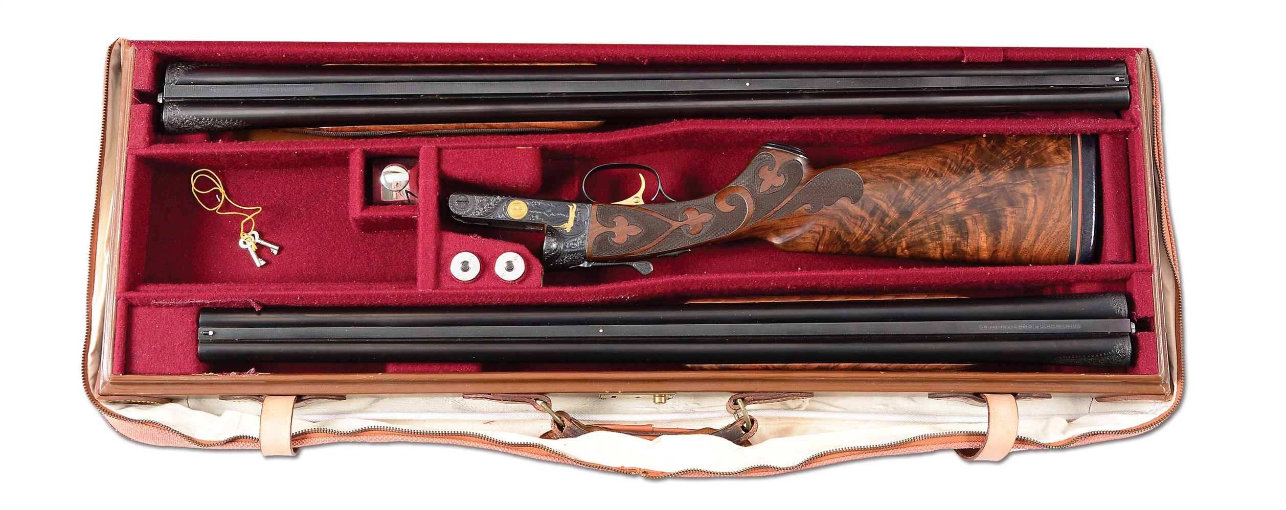 (C) ONE OF THE MOST ICONIC MODEL 21 WINCHESTERS EVER MADE - A 12 GAUGE GRAND AMERICAN BUILT FOR ROY ROGERS WITH FULL DOCUMENTATION, EXTRA BARRELS AND CASE, EXHIBITED AT ROY ROGERS/ DALE EVANS MUSEUM.