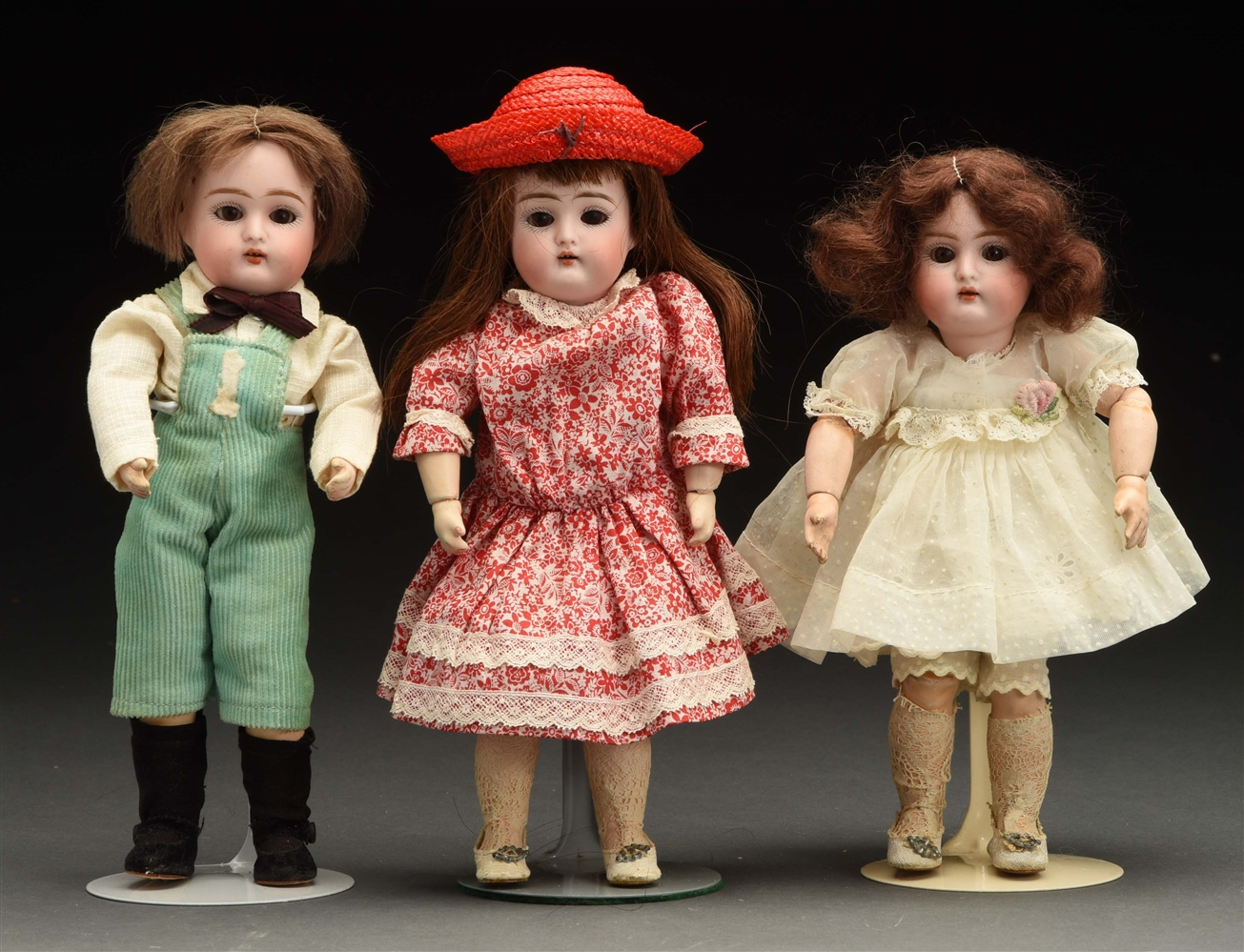 Lot of 3: Small German Dolls.