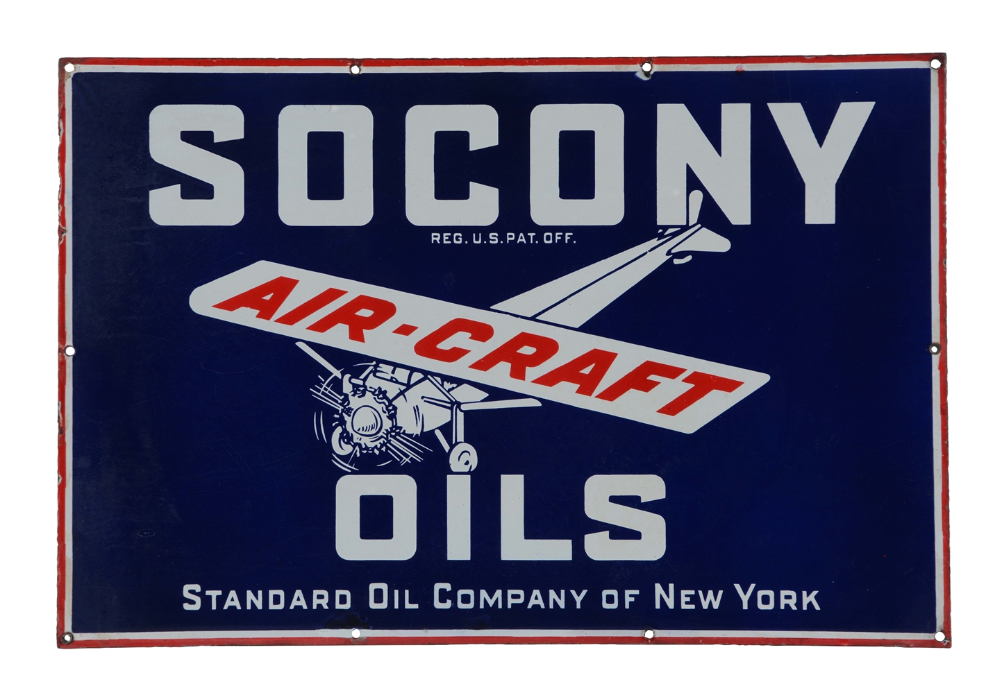 Socony Aircraft Oils Porcelain Sign with Airplane Graphic.