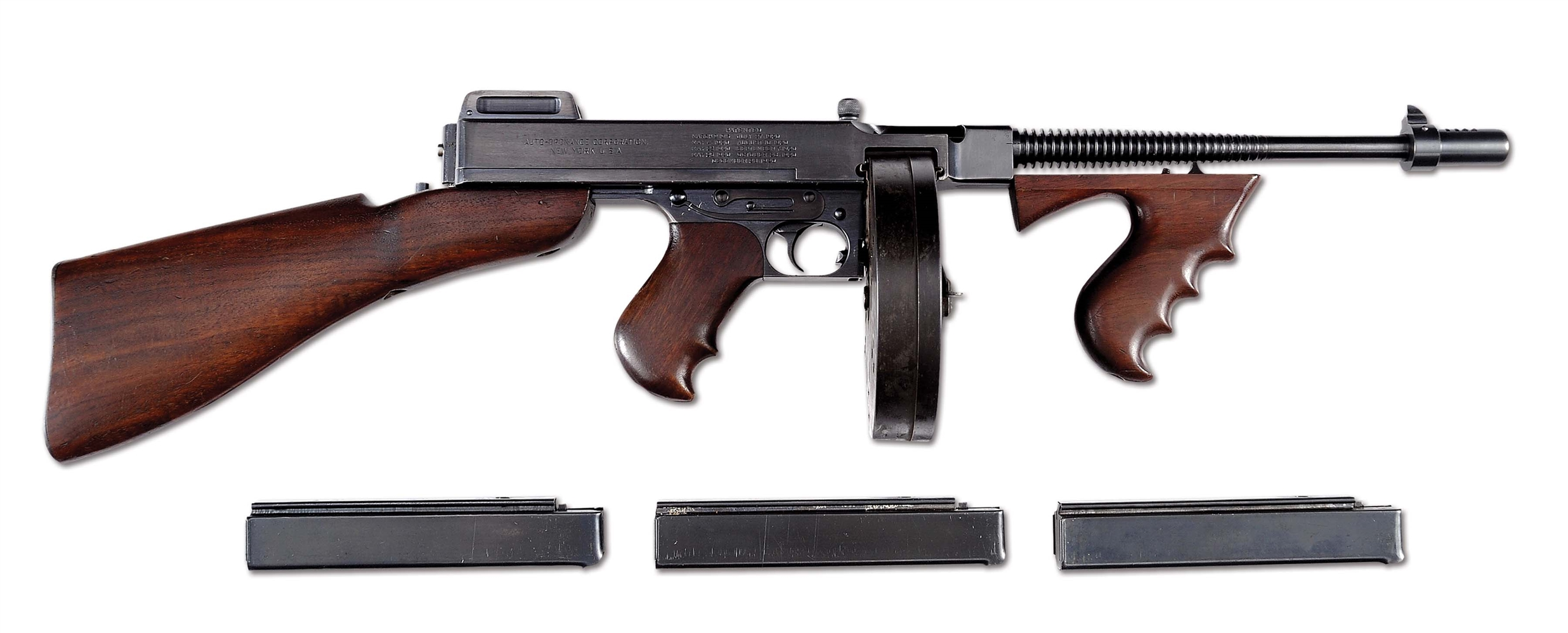 (N) DESIRABLE COLT U.S. NAVY 21/28 OVERSTAMP THOMPSON MACHINE GUN WITH POLICE MARKINGS (CURIO & RELIC).