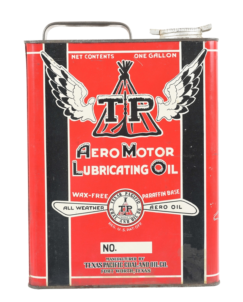 Texas Pacific Aero Motor Oil One Gallon Flat Oil Can.