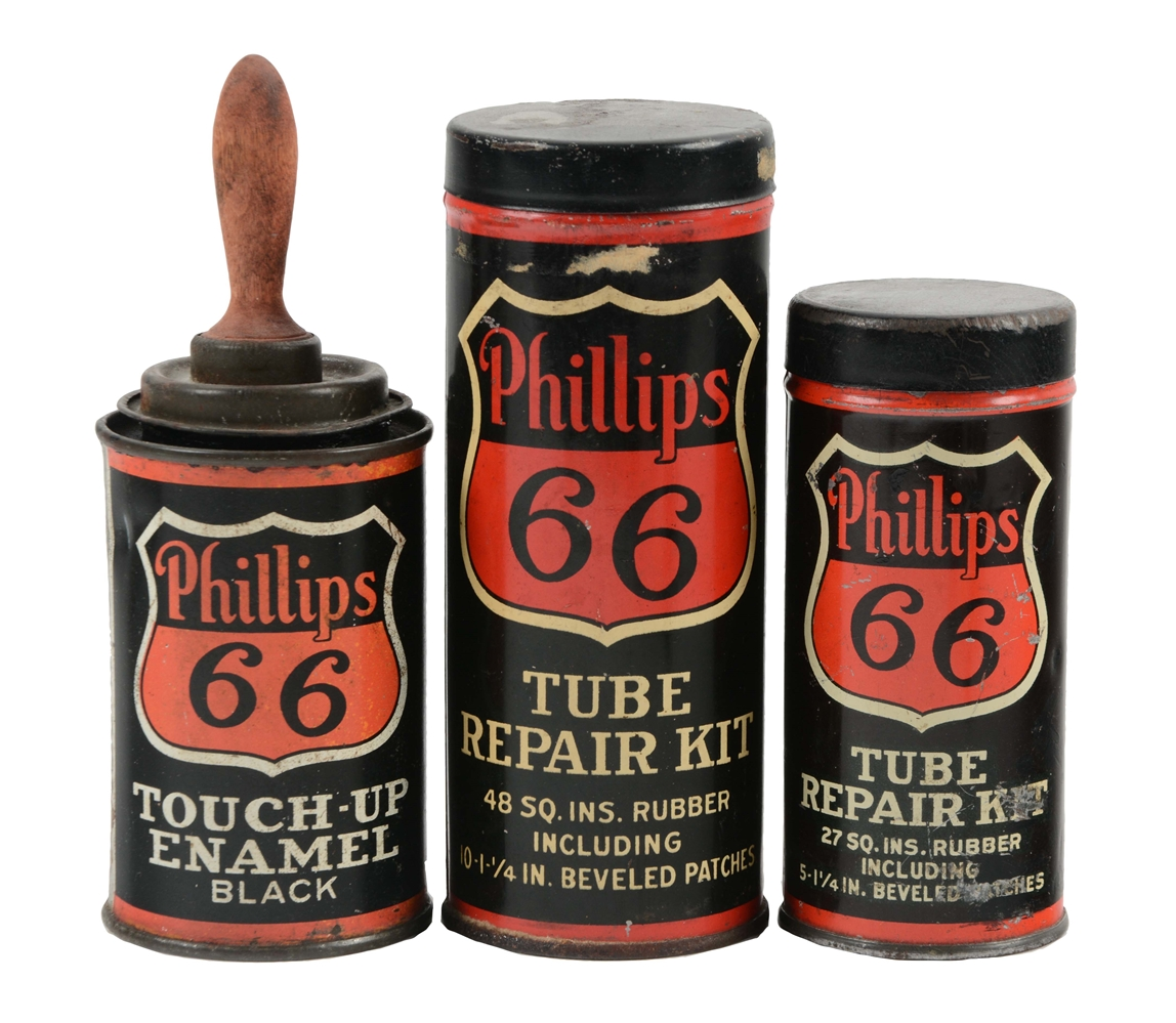 Lot Of 3: Early Phillips 66 Black Accessory Cans