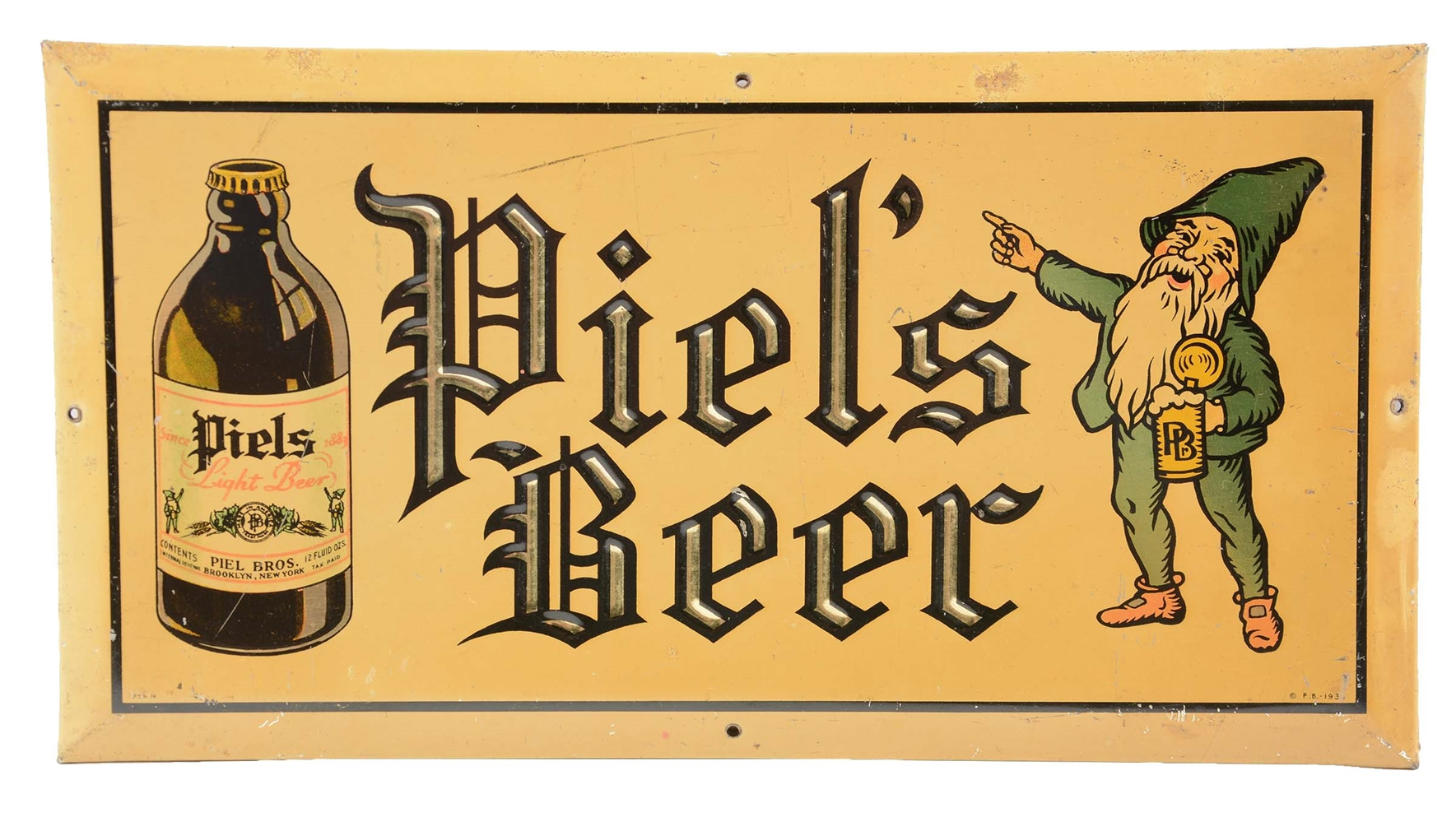 Piels Beer Tin Over Cardboard Advertising Sign.
