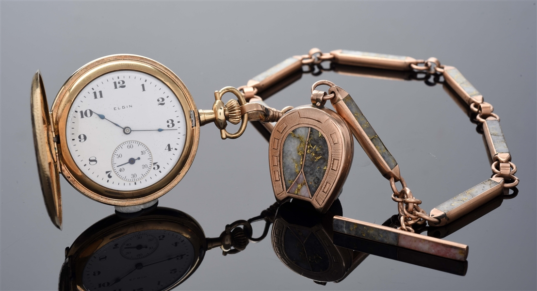 ELGIN GOLD FILLED H/C POCKET WATCH W/GOLD QUARTZ CHAIN & FOB.