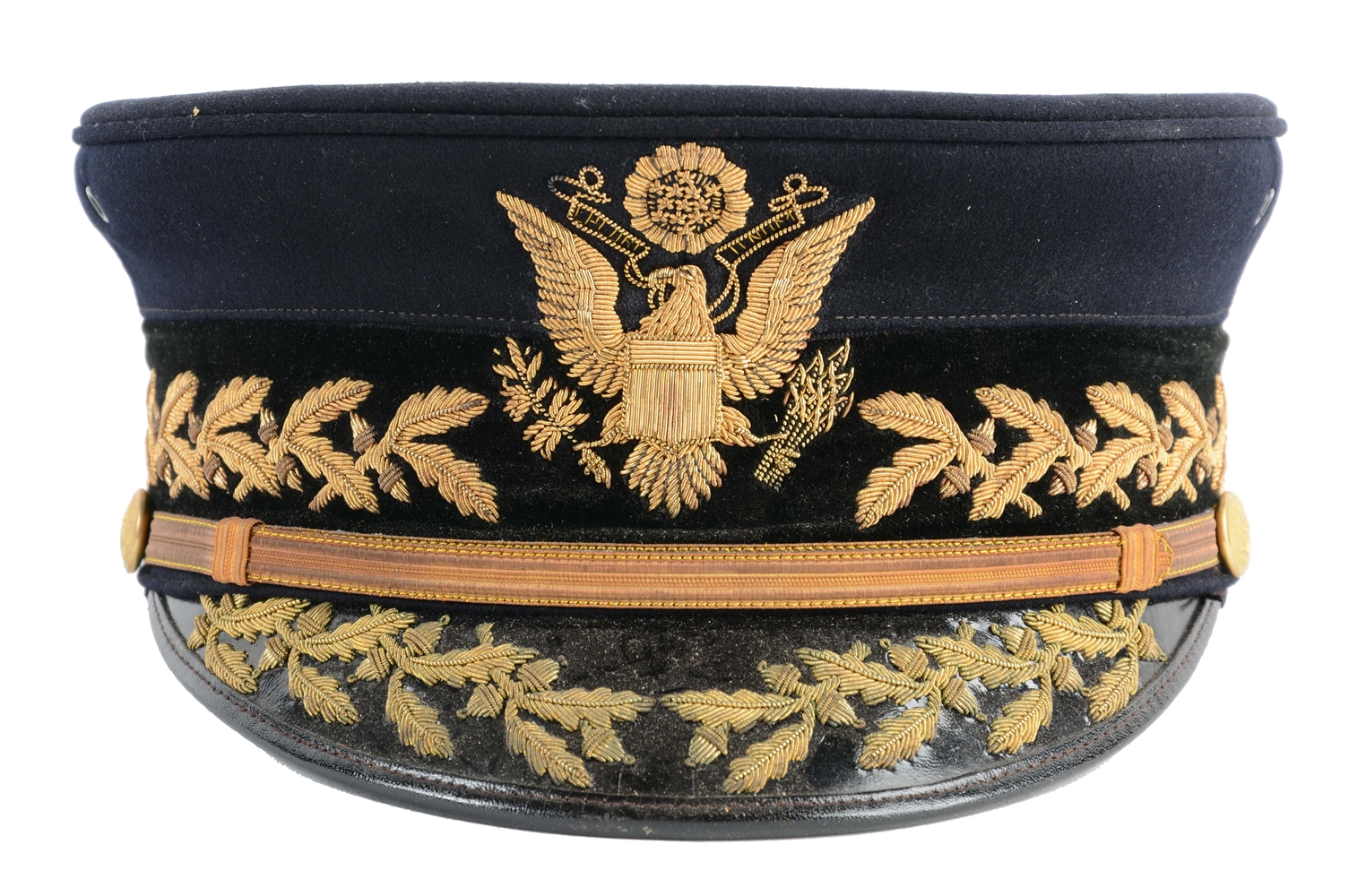 Boxed U.S. Army Model 1902 Generals Full Dress Visor Cap.