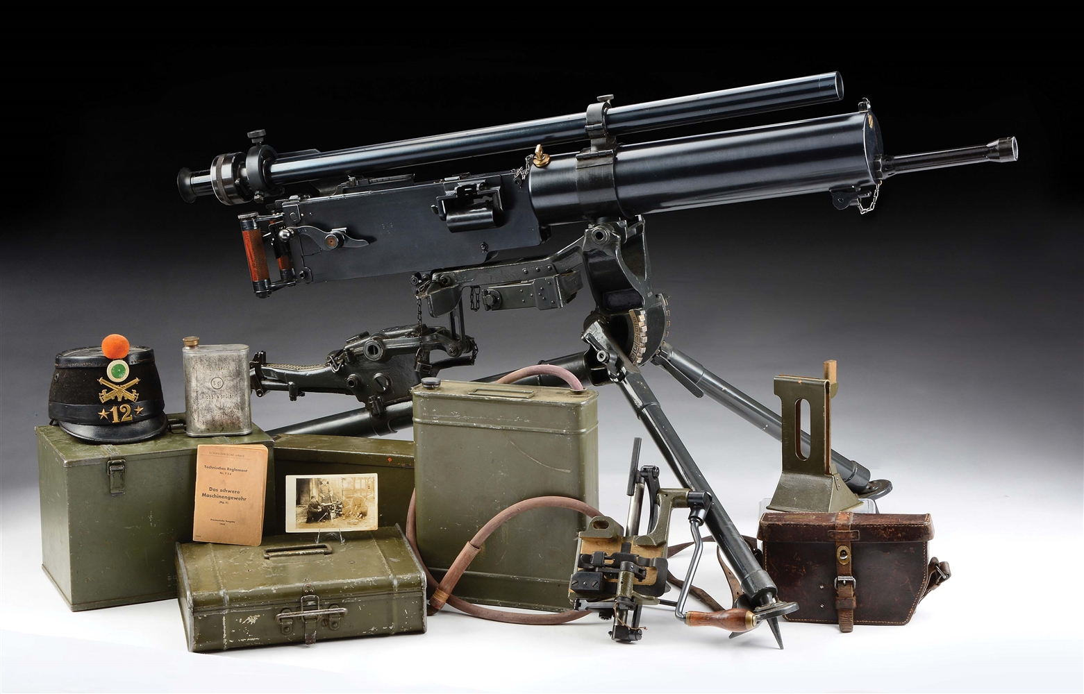 (N) Absolutely Fantastic Swiss MG-11 Maxim Machine Gun on Tripod (Curio and Relic).