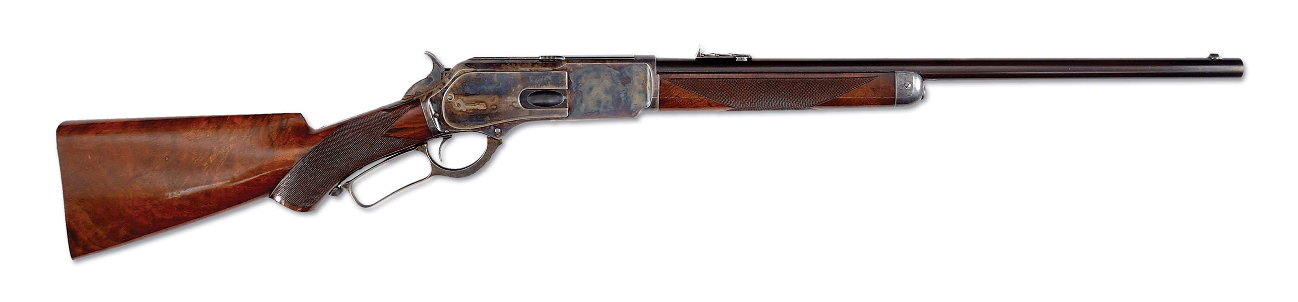 (A) EXCEPTIONAL WINCHESTER 1876 DELUXE RIFLE IN A 50 CALIBER.