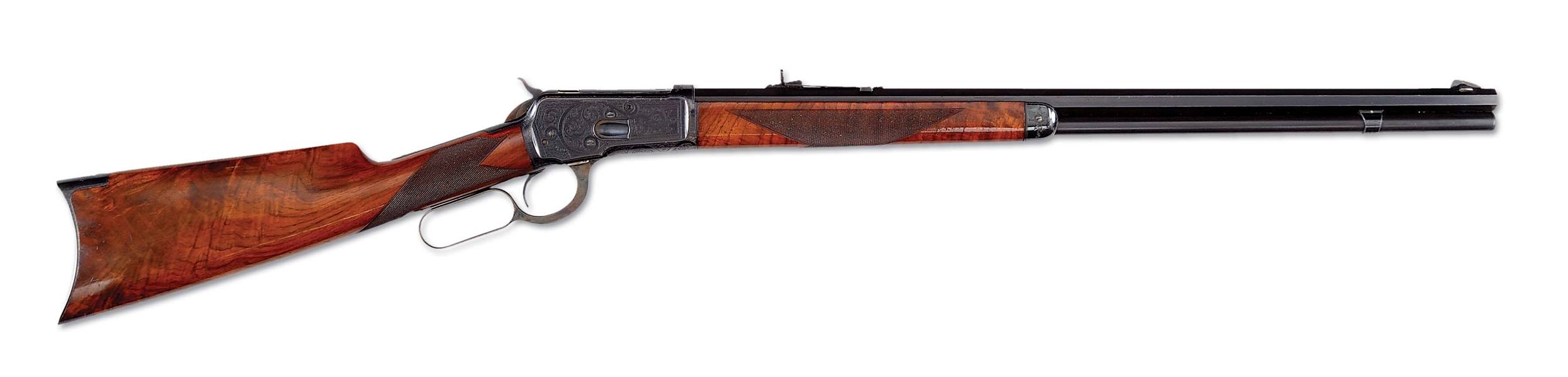 (A) MAGNIFICENT FACTORY ENGRAVED 1ST YEAR PRODUCTION WINCHESTER MODEL 1892 .44 CALIBER RIFLE.