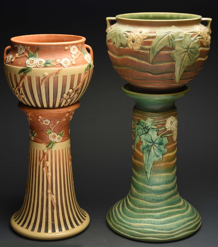 Lot Of 4: Roseville Jardinieres and Pedestals.