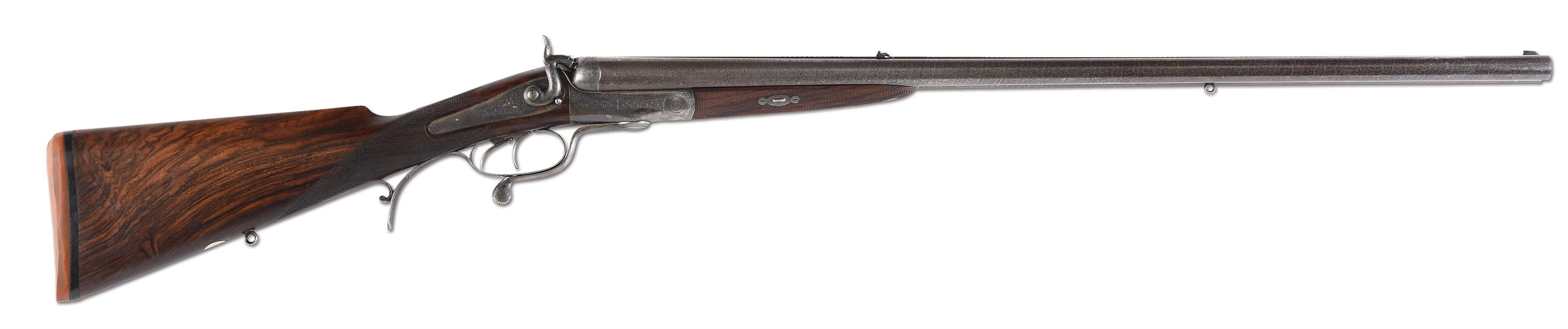 (A) SUPERB JAMES PURDEY .577 EXPRESS HAMMER DOUBLE RIFLE WITH ORIGINAL CASE AND ACCESSORIES