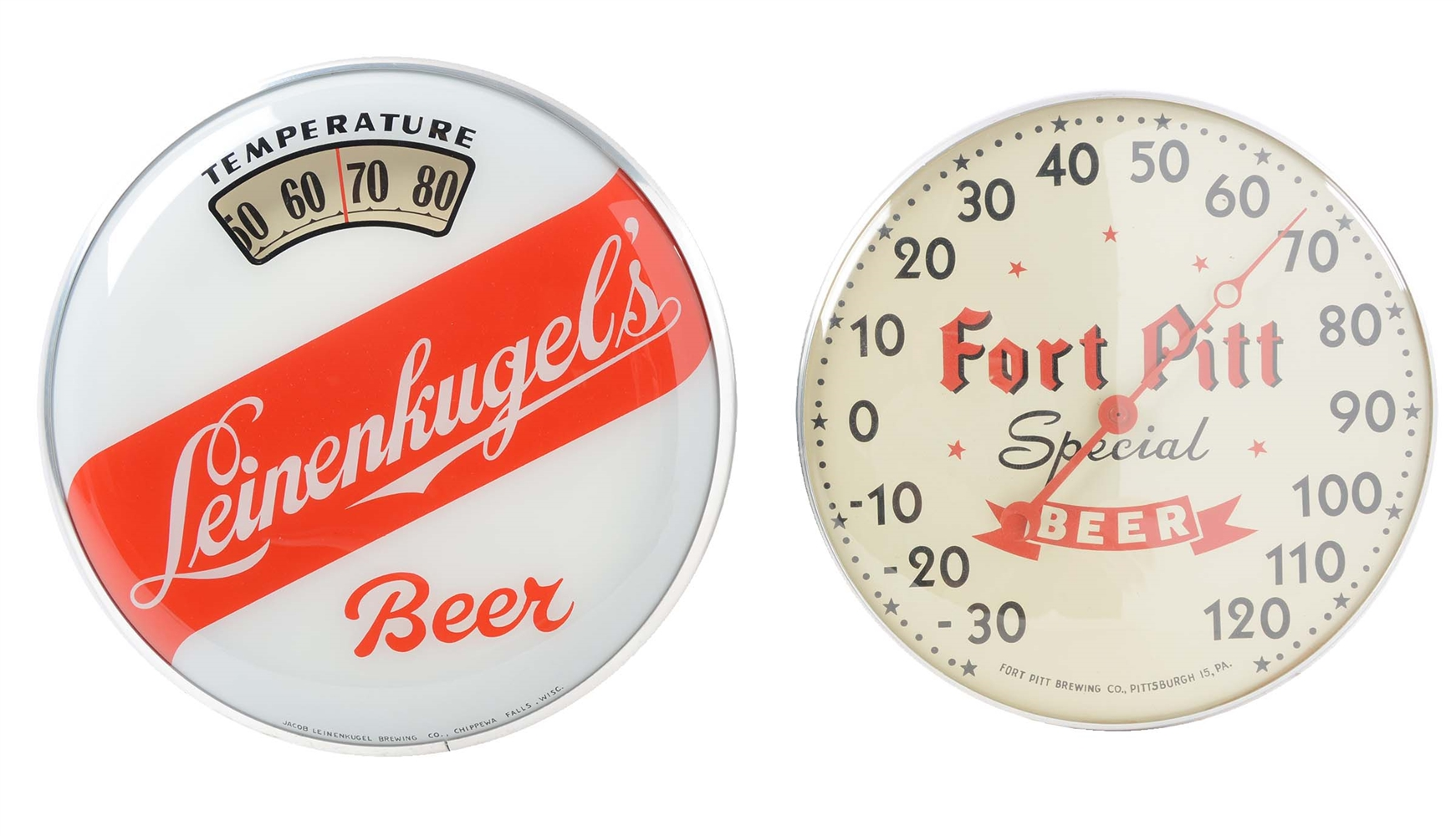 Lot Of 2: Fort Pitt & Leinenkugels Thermometers.